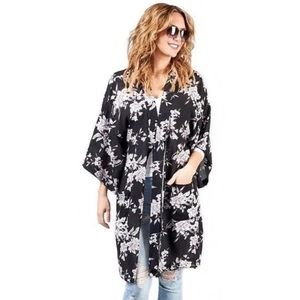 Spiritual Gangster Maya Black Floral Kimono OS